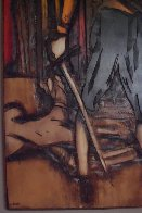 Untitled Painting on carved wood 1974   60x48 Super Huge Original Painting by Jean Claude Gaugy - 7