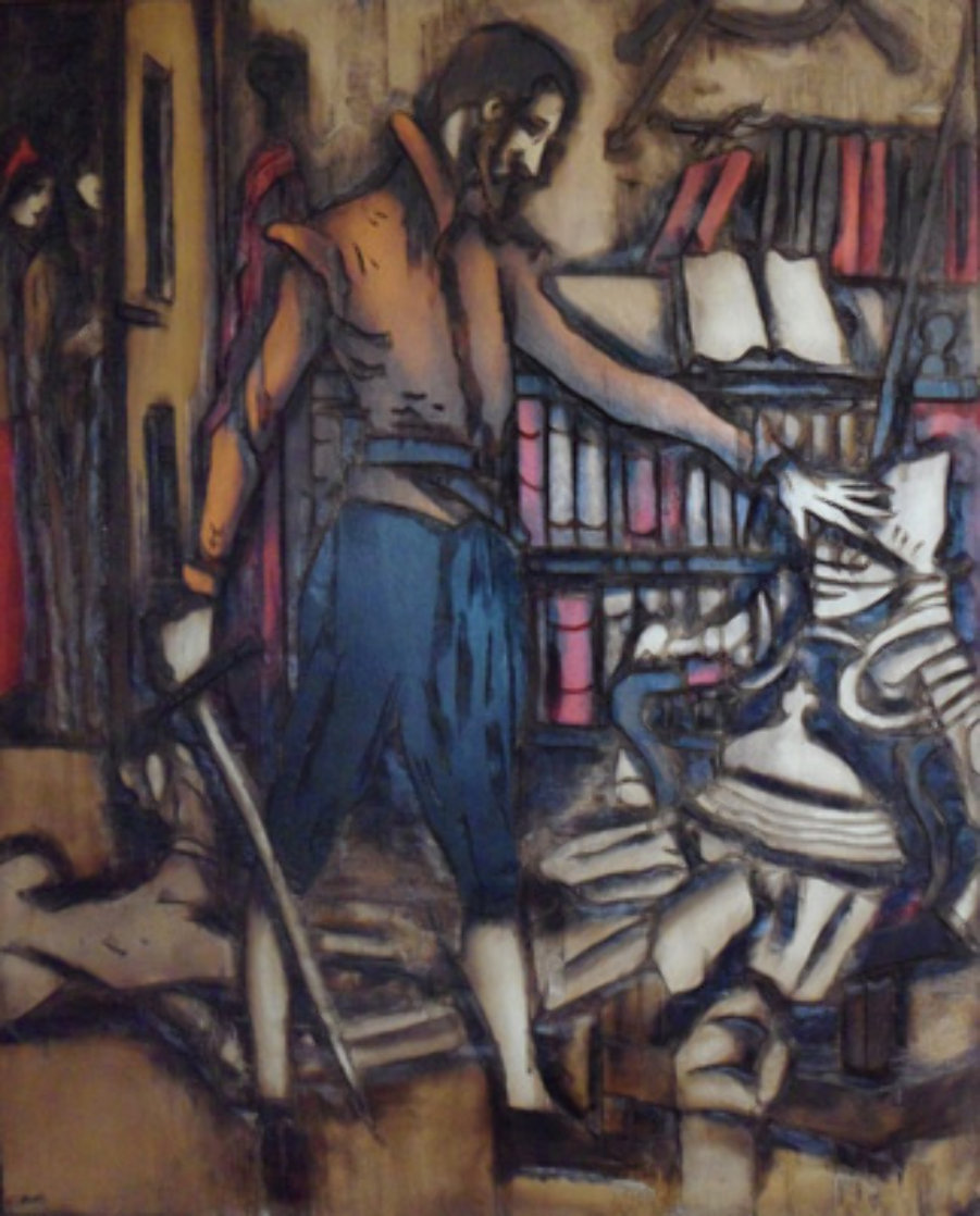 Untitled Painting on carved wood 1974   60x48 Super Huge Original Painting by Jean Claude Gaugy