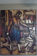 Untitled Painting on carved wood 1974   60x48 Super Huge Original Painting by Jean Claude Gaugy - 1