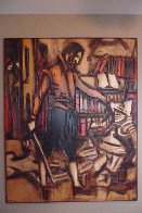 Untitled Painting on carved wood 1974   60x48 Super Huge Original Painting by Jean Claude Gaugy - 2