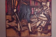Untitled Painting on carved wood 1974   60x48 Super Huge Original Painting by Jean Claude Gaugy - 4