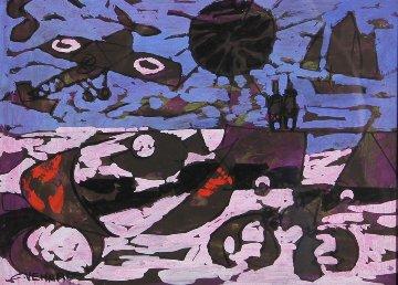 Le Ciel Rouge Violace 1963 18x21 Original Painting - Claude Venard
