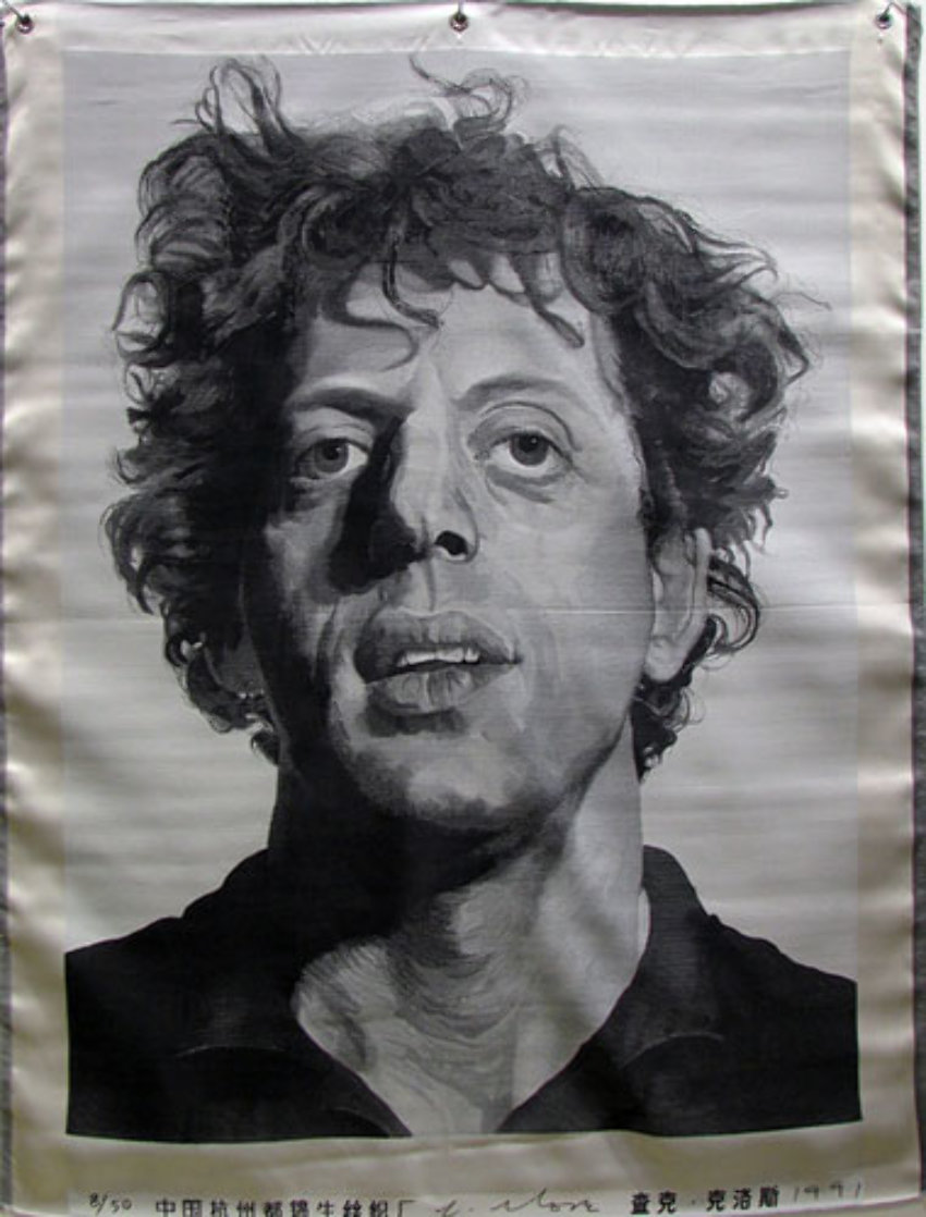 Phil (Silk Tapestry) 1991 Phil Glass 51x38 Huge Tapestry by Chuck Close