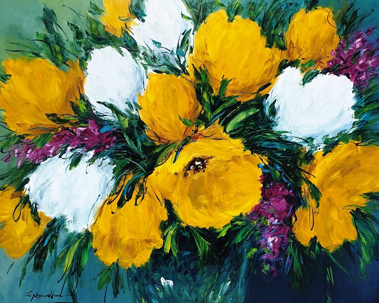 Yellow Bloom 2006 36x44 Super Huge Original Painting by Christian Nesvadba