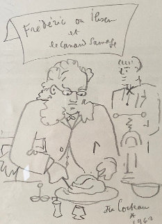 Frederic Ou Ibsen Et Le Canard Sauvage Drawing 1962 10x8 Works on Paper (not prints) by Jean Cocteau