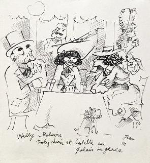 Willy, Polaire, Toby Chien Et Colette Au Palace De Glace Drawing 1935 10x8 HS Drawing - Jean Cocteau