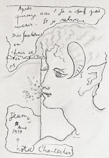 Faun a La Brindille 1939 13x11 Works on Paper (not prints) by Jean Cocteau