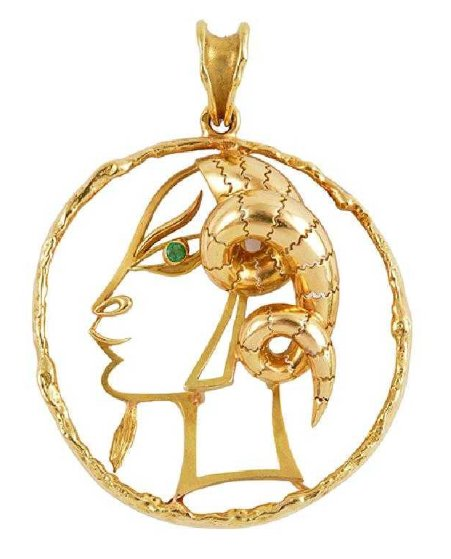 Capricorn Gold 18k Gold Pendant From Zodiac 1950 2 in Jewelry by Jean Cocteau