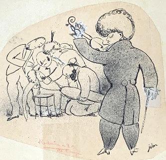Tango 1915 10x9 Works on Paper (not prints) - Jean Cocteau