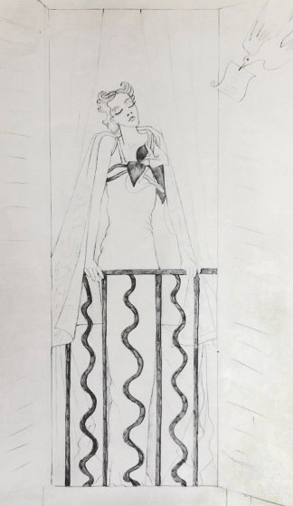 Elegante a Sa Fenêtre Et Oiseau Messager Drawing 1935 25x20 Works on Paper (not prints) by Jean Cocteau