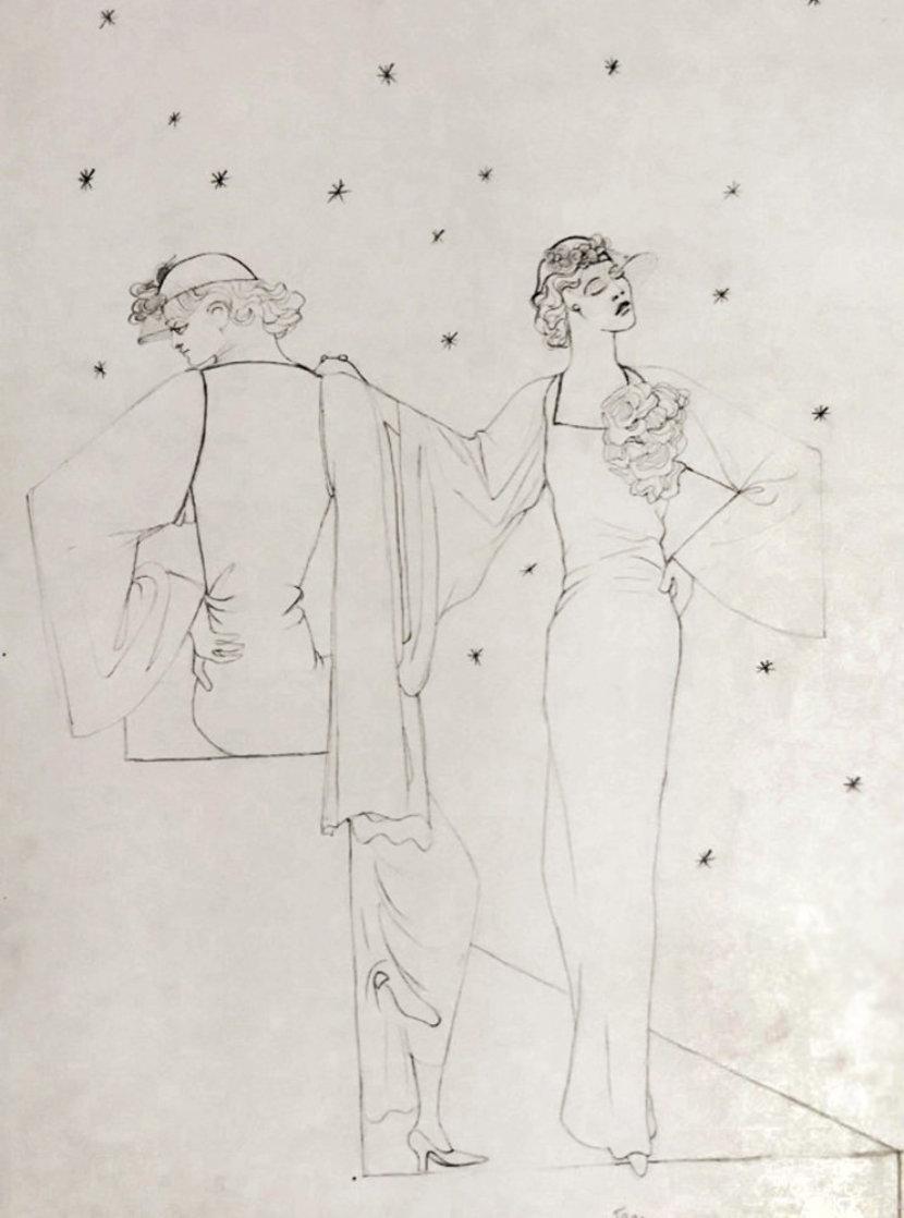 Robes Du Soir Sur Fond Etoile 1935 25x20 Drawing by Jean Cocteau