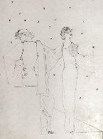 Robes Du Soir Sur Fond Etoile 1935 25x20 Drawing by Jean Cocteau - 0