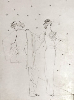 Robes Du Soir Sur Fond Etoile 1935 25x20 Drawing by Jean Cocteau