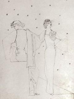 Robes Du Soir Sur Fond Etoile 1935 25x20 Drawing - Jean Cocteau