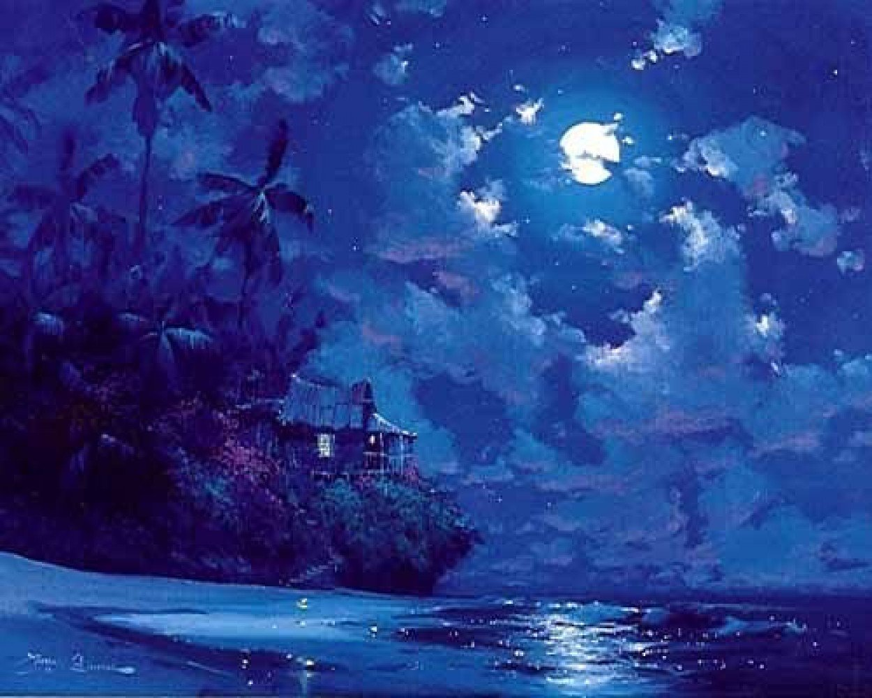 Midnight Surf 1990 Embellished Limited Edition Print by James Coleman