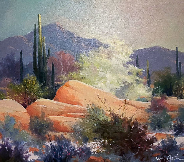 Sonoran Desert 1989 37x43 Original Painting by James Coleman