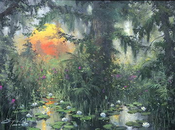 Low Lying Lilies 2009 28x34 Original Painting by James Coleman