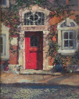 Afternoon Light on the Red Door 2009 29x26 Original Painting by James Coleman