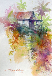Steps to Paradise Watercolor  2003 22x15 Watercolor - James Coleman