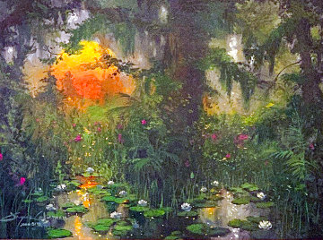 Low Country Lily's 2006 22x28 Original Painting - James Coleman