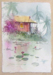 Under the Stone Bridge / A Tropical Pond set of 2 Watercolors 2006 Original Painting by James Coleman