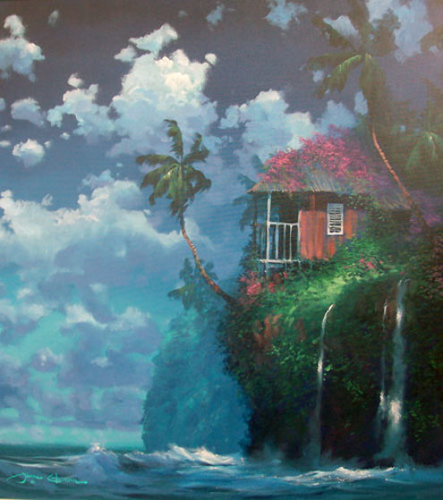 Tropicial Hideaway 1993 36x36 Original Painting by James Coleman