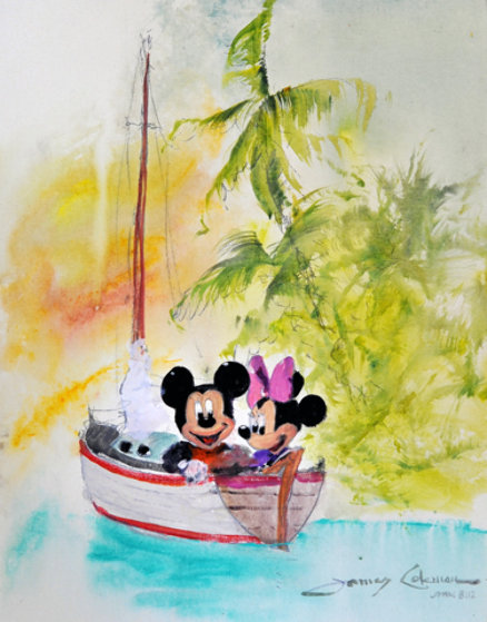 Mickey and Minnie Sailing Watercolor 2006 Watercolor by James Coleman