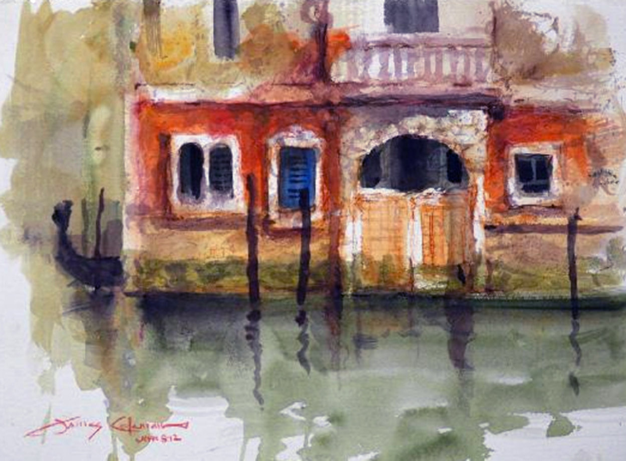 Venice, Italy  Reflection Watercolor 2012 Watercolor by James Coleman