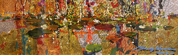 Gold And Lilies 8x24 Original Painting by James Coleman