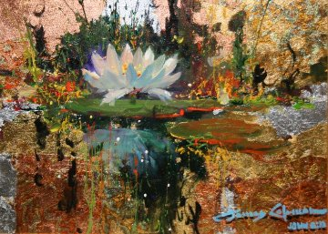 Lily Reflections 2011 12x16 Original Painting by James Coleman
