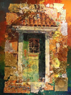 Green Door 43x33 Original Painting by James Coleman