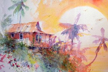 Majestic Sunset Watercolor 2003 45x36 Watercolor - James Coleman