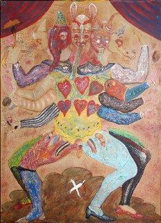 Many-Headed Man 1980 69x55 Huge  Original Painting - Alejandro Colunga