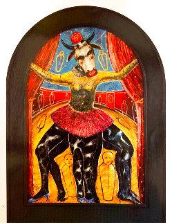 La Vaca Lulu 1993 90x67 Super Huge Original Painting - Alejandro Colunga