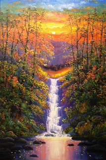 Peaceful Waterfall 36x40 Super Huge Original Painting - Connie Tom