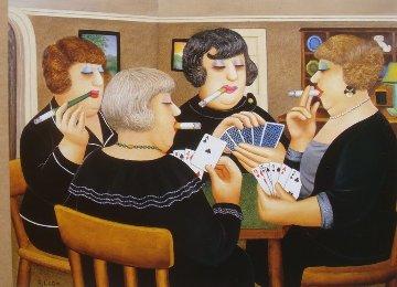 Bridge Players 1997 Limited Edition Print - Beryl Cook