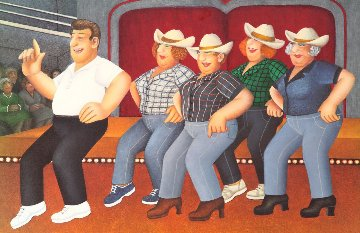 Line Dancing 2002 Limited Edition Print - Beryl Cook