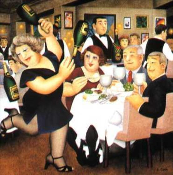 Dining Out 1995  Limited Edition Print by Beryl Cook