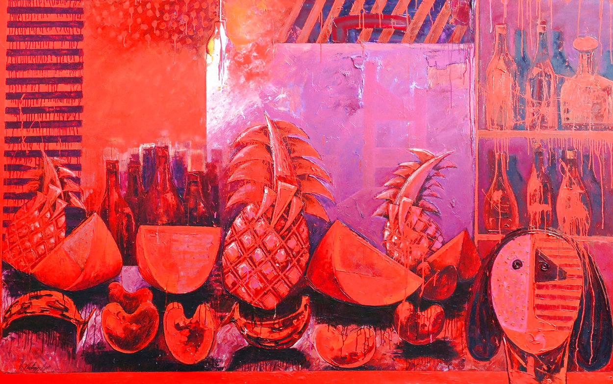 Bodegon With Fruit 2000 62x59 Super Huge Original Painting by Vladimir Cora