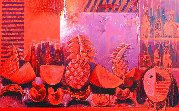Bodegon in Red 2000  Huge 63x201 Original Painting - Vladimir Cora