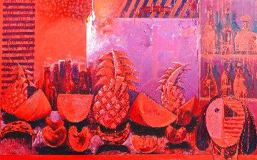 Bodegon in Red 2000  Huge Mural 63x201 Original Painting - Vladimir Cora