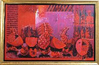 Bodegon in Red 2000 63x101 Super Huge Mural Original Painting by Vladimir Cora - 2