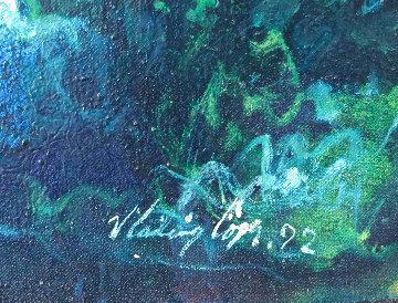 Reposa En Las Rocas 1992 17x48 Original Painting - Vladimir Cora