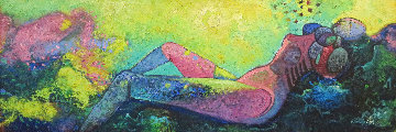 Reposa En Las Rocas 1992 17x48 Huge Original Painting - Vladimir Cora