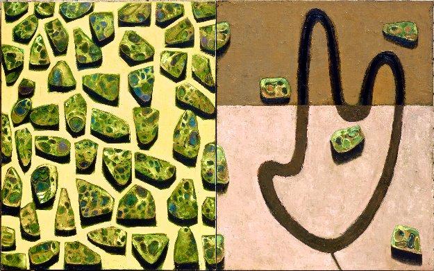 Flor - Hojarasca Diptych 2003 60x96 Mural 60x96 Original Painting by Vladimir Cora