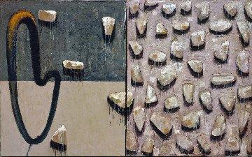 Flor Gris Diptico #1 2003 60x96 Mural Original Painting - Vladimir Cora