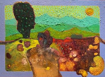 Mujar En El Huerto (Women in Garden) 1990 23x29 Original Painting - Vladimir Cora