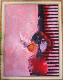 La Cita  1990 62x54 Super Huge Original Painting - Vladimir Cora