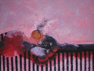 La Cita  1990 62x54 Original Painting by Vladimir Cora