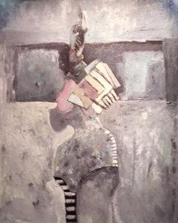 Por La Calle 1988 48x40 Original Painting - Vladimir Cora